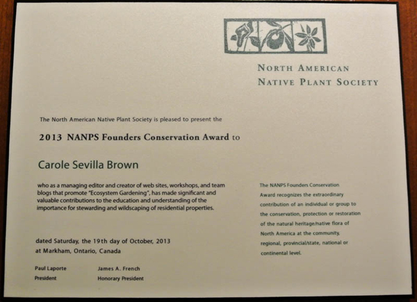 Carole Sevilla Brown 2013 NANPS Founders Conservation Award
