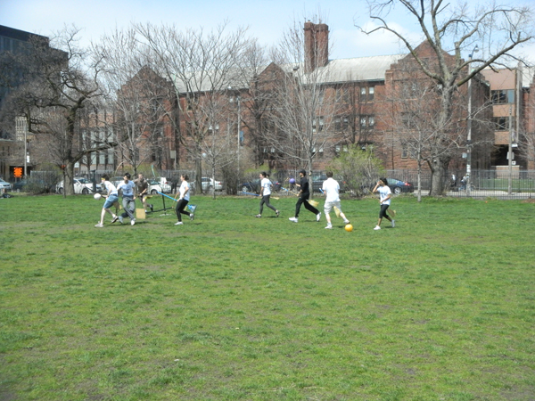 During a rally to save the field, some supporters organized a game of Quidditch, the competitive sport of wizards in the world of Harry Potter.