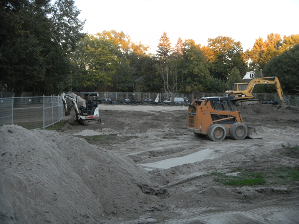 In the throes of construction at Maurice Cody.