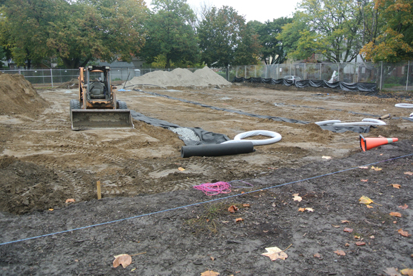 Drainage piping installed at Maurice Cody.