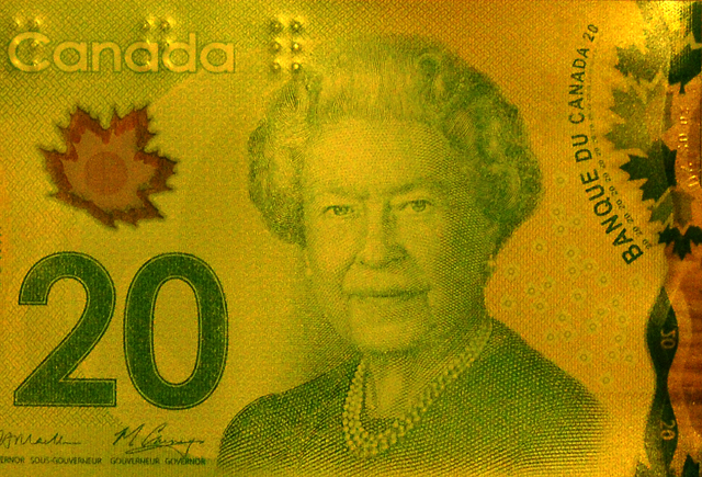 Partial view of $20 Canadian bill showing maple leaves.