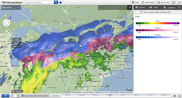 Early morning as the ice storm cometh and moveth through. Photo courtesy of Wunderground.